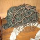 metal with wood handle wine rack