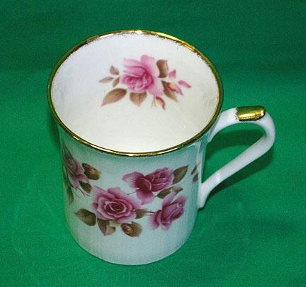 Royal Heritage Bone China Gold Trim Mug with Pink Roses