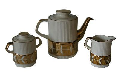Gibsons Retro White and Gold Tea Pot Set