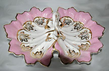 Vintage Porcelain Shabby Chic Candy Dish Double Sided With Ornate Handle
