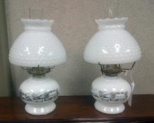 Currier & Ives White Oil Lamp - Pair