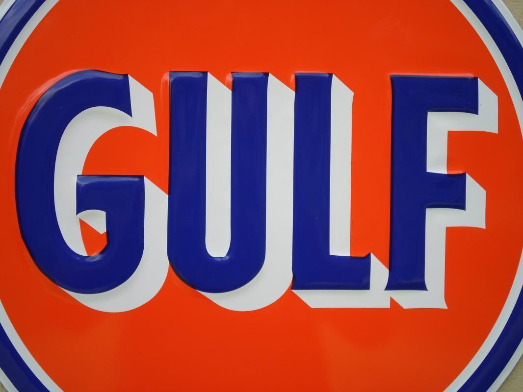 OUR LARGEST GULF GAS & OIL SIGN // TOP QUALITY  LOW SHIPPING COST