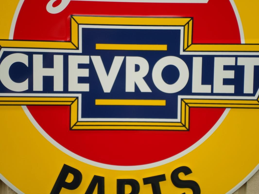 OUR LARGEST WE USE GENUINE CHEVROLET PARTS  METAL SIGN // MADE IN USA