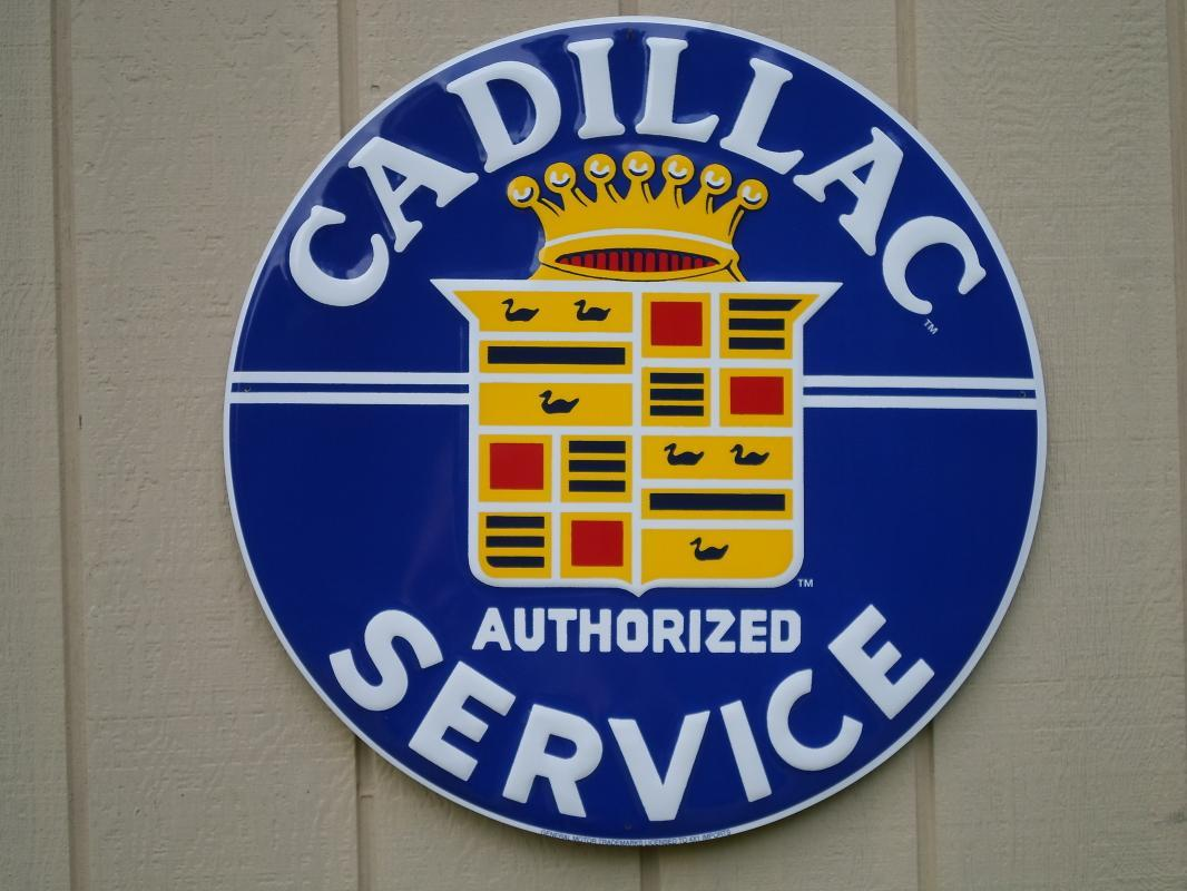 OUR LARGEST CADILLAC AUTHORIZED SERVICE  METAL SIGN // MADE IN USA