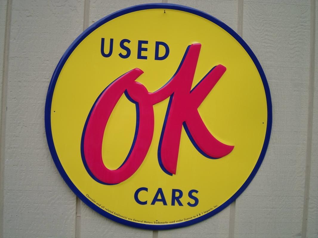 OUR LARGEST OK USED CARS LOT METAL SIGN // MADE IN USA