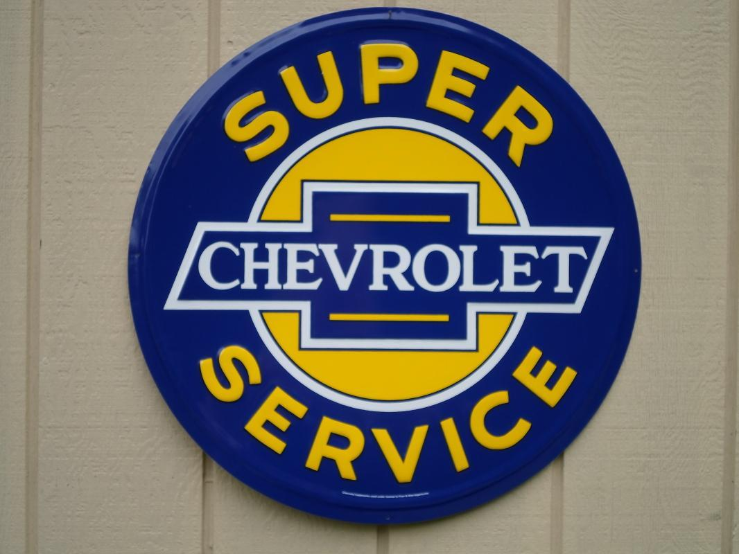 OUR LARGEST SUPER CHEVROLET SERVICE GARAGE METAL SIGN // MADE IN USA
