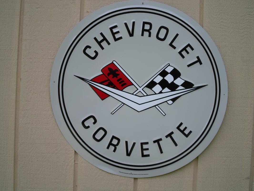 OUR LARGEST CHEVROLET CORVETTE SERVICE GARAGE METAL SIGN // MADE IN USA