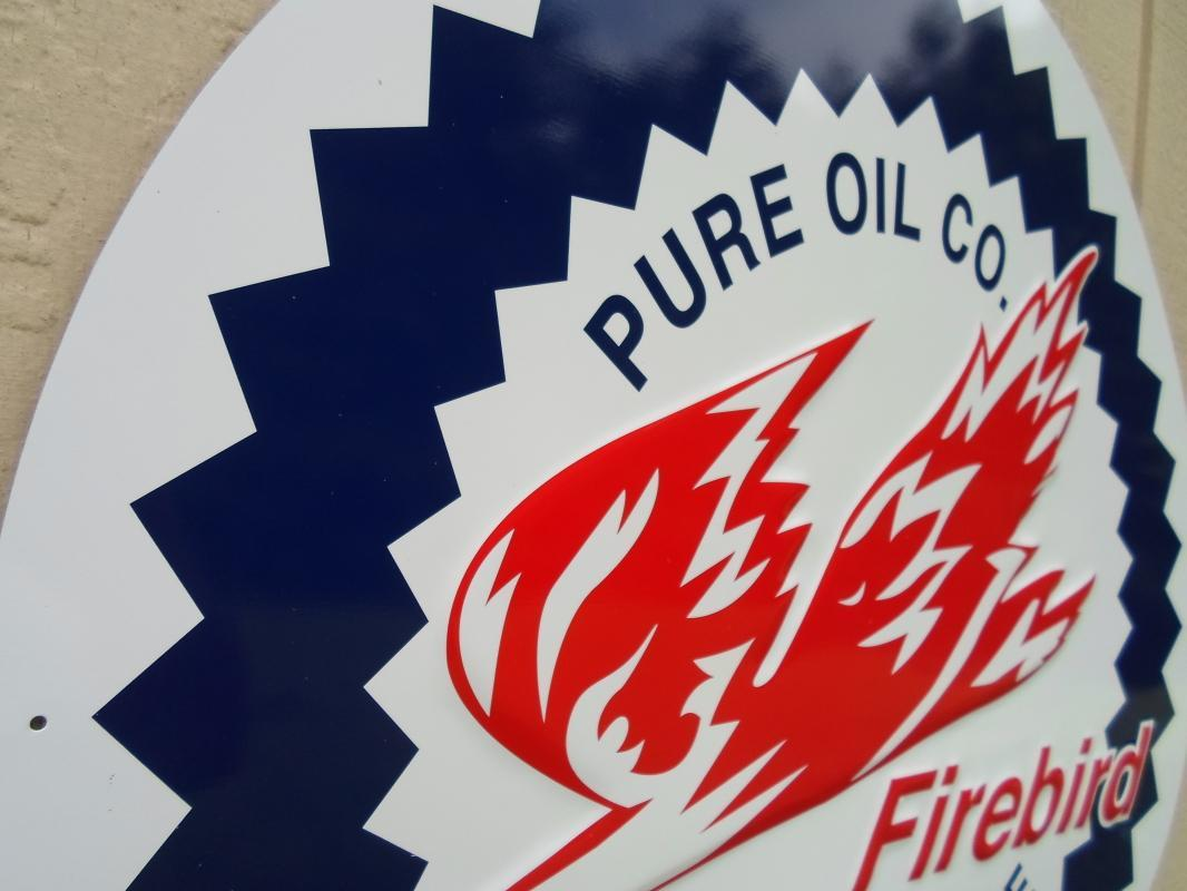 OUR LARGEST PURE OIL COMPANY FIREBIRD RACING GASOLINE SIGN