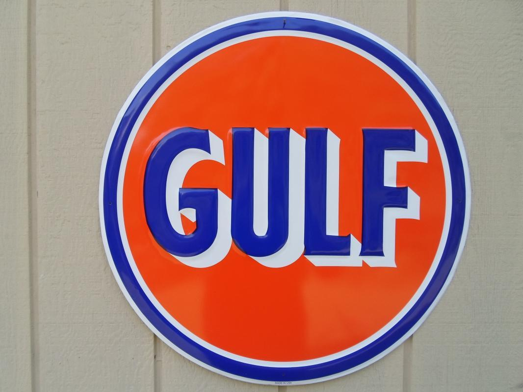 OUR LARGEST GULF  GASOLINE & OIL SERVICE  SIGN