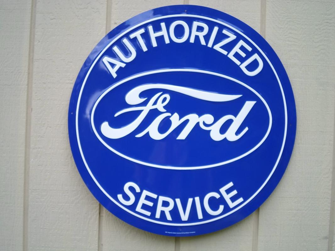 LOT OF FOUR OF OUR LARGEST SIGNS, TWO FORDS & TWO MUSTANGS - FREE SHIPPING
