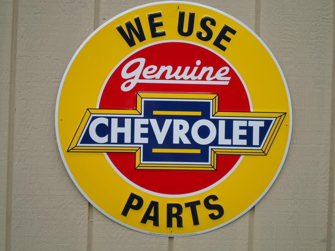 LOT OF FOUR OF OUR LARGEST SIGNS, CHEVROLET, CORVETTE & OK USED CARS - FREE SHIPPING