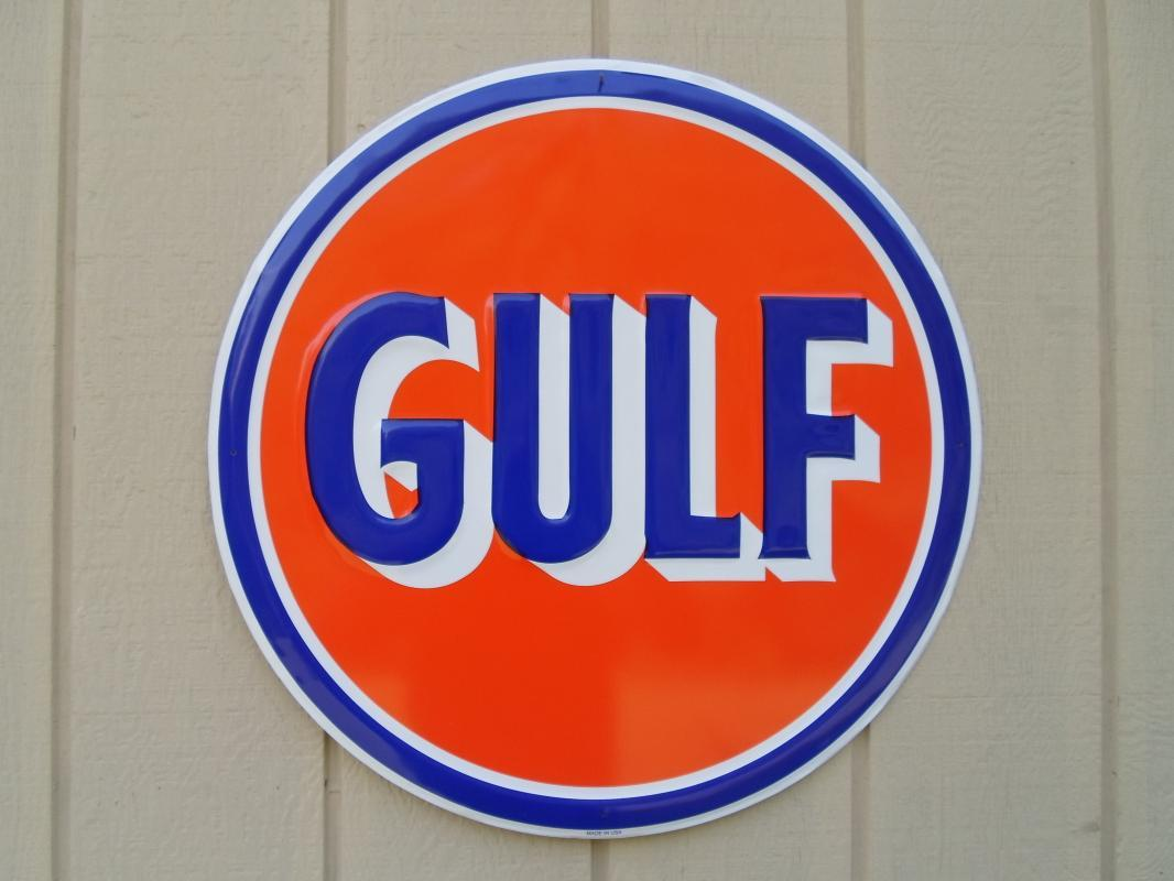 LOT OF ALL  ( 7 )  OF OUR LARGEST GAS & OIL SIGNS, MOBIL - ESSO & GULF - FREE SHIPPING