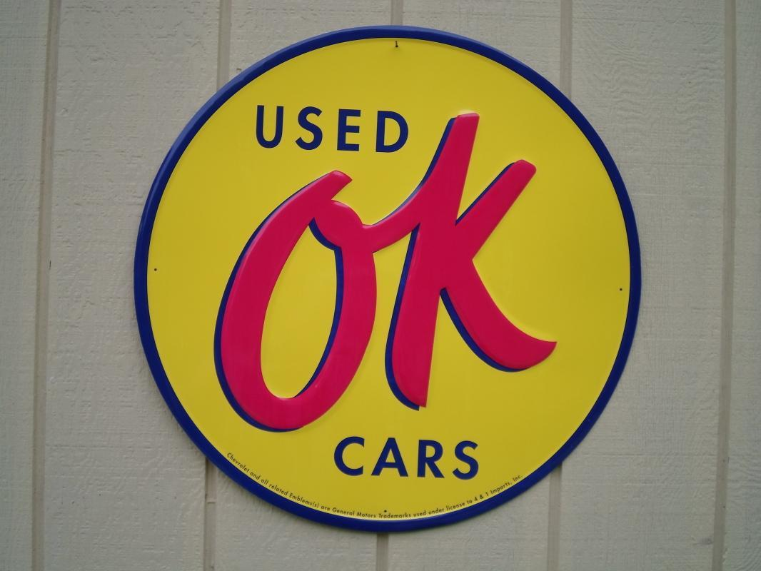 LOT OF THREE OF OUR LARGEST GENERAL MOTORS OK USED CARS SIGNS - GREAT FOR CAR LOT DISPLAYS- FREE SHIPPING