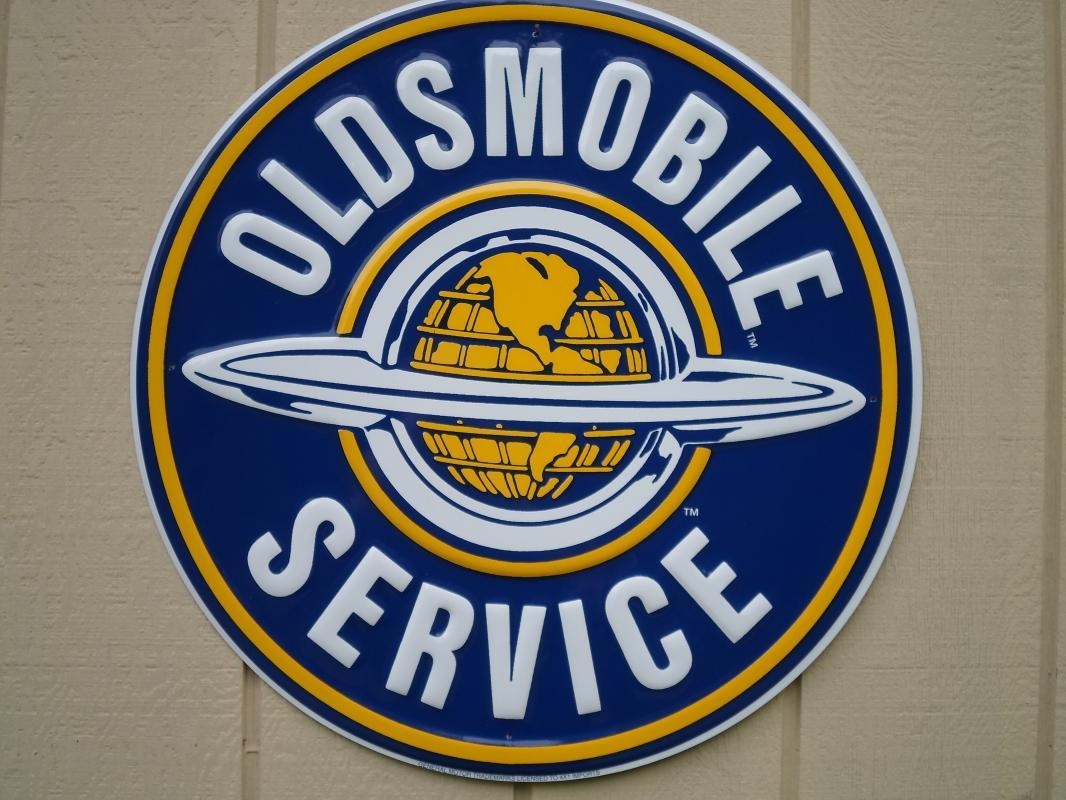 LOT OF THREE OF OUR LARGEST GENERAL MOTORS OK USED CARS SIGNS - BUICK - OLDSMOBILE - CADILLAC SIGNS - FREE SHIPPING