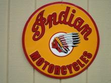 OUR LARGEST  INDIAN MOTORCYCLE SIGN -