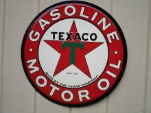 LOT OF 3 OF OUR LARGEST GULF - MOBIL and  TEXACO GASOLINE & OIL SIGN -