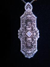 Stunning Art-Deco Diamond, 14K White Gold Filigree Lavaliere Necklace, 19