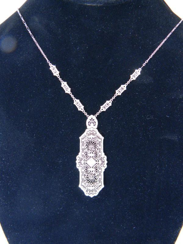 Stunning Art-Deco Diamond, 14K White Gold Filigree Lavaliere Necklace, 19