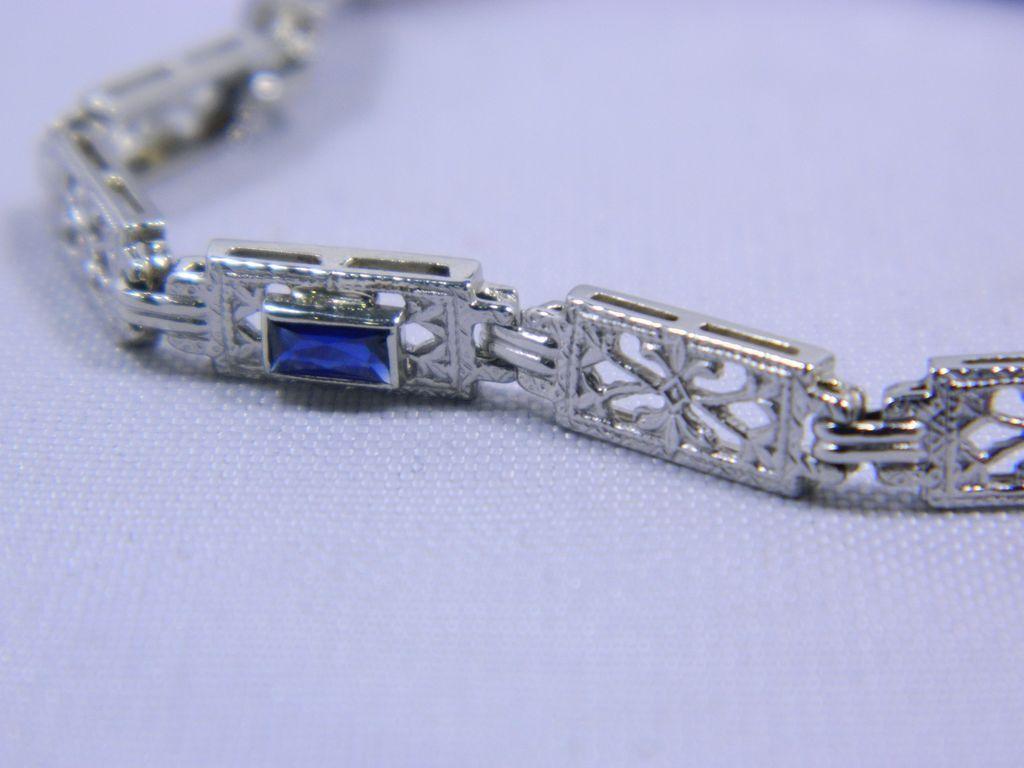 Exquisite Antique 14 Karat White Gold Bracelet-7