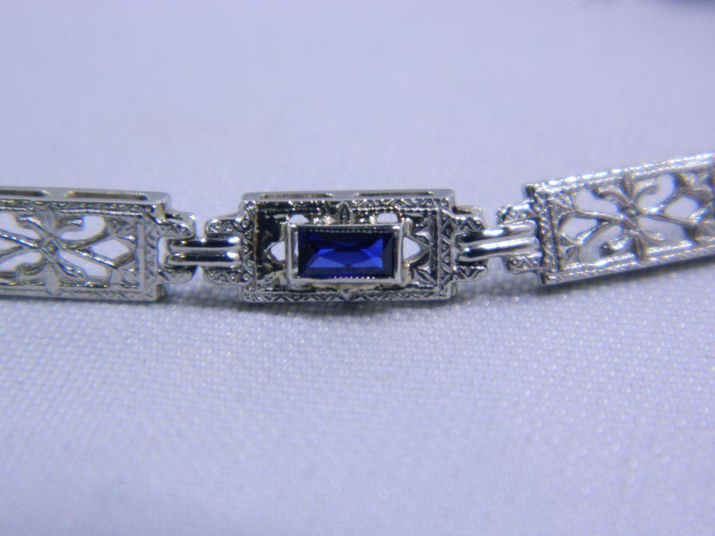 Exquisite Antique 14 Karat White Gold Bracelet-7