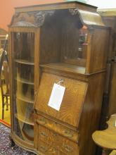 American Oak Side By Side Secretary With Hood
