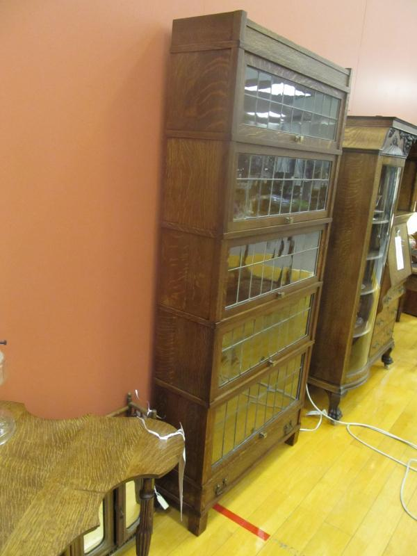 American Oak Bookcase, Globe Wernicke, 5 Stacks, Mission With Leaded Glass Doors