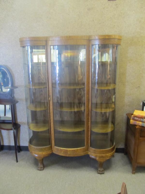 American Oak Curved J Glass China Cabinet