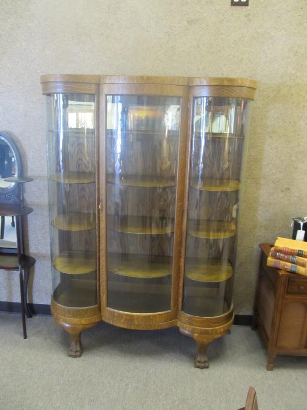 American Oak Curved J Glass China Cabinet