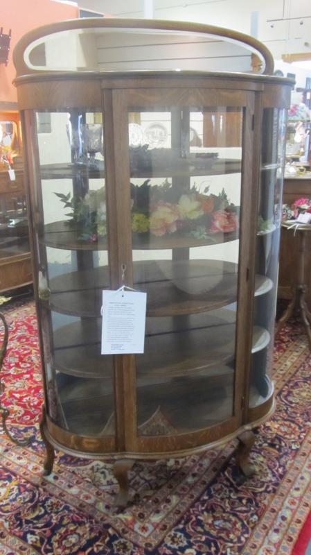 American Oak Curved Glass China/Curio Cabinet (half moon shaped mirror crown)