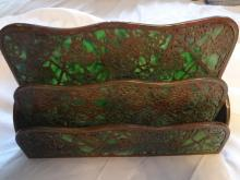 Impressive Tiffany Studios LCT Green Favrile Glass Grapevine Desk Letter Rack