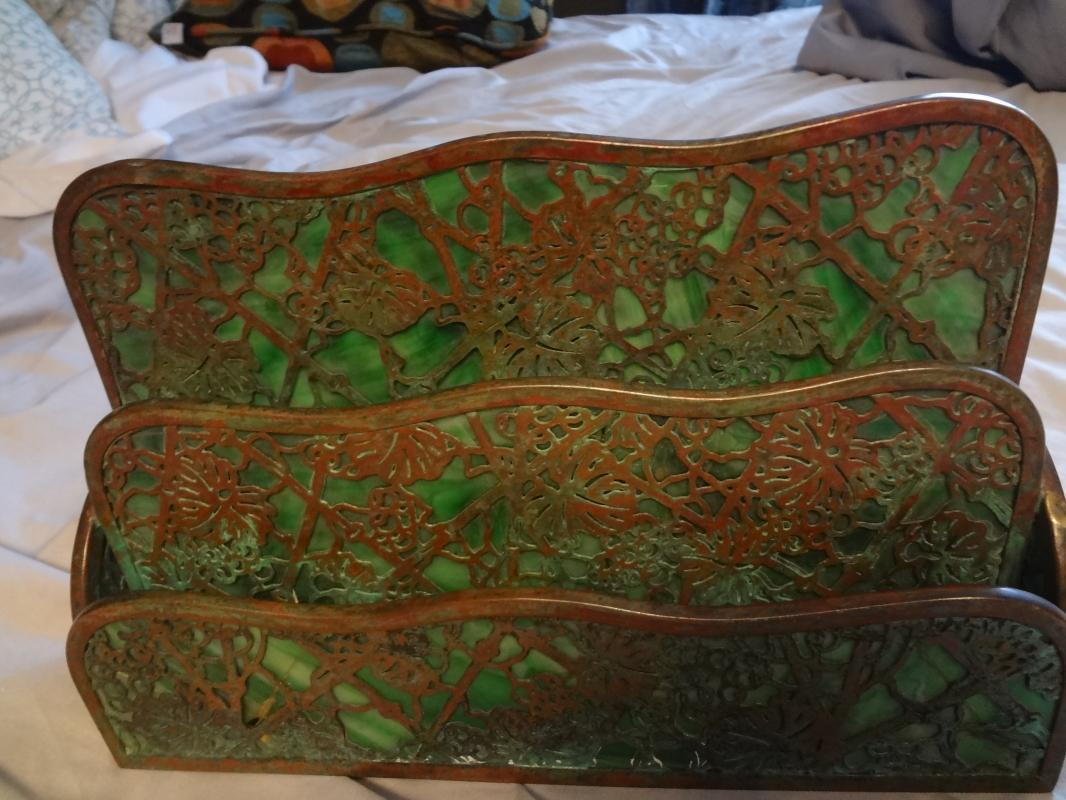 Impressive Tiffany Studios LCT Green Favrile Glass Grapevine Desk Letter Rack