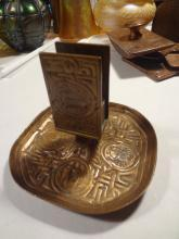 ANTIQUE TIFFANY STUDIOS BRONZE ZODIAC ART CIGARETTE ASHTRAY MATCH HOLDER SAFE