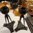 ANTIQUE Signed Bronze TIFFANY Studios 1905-1906 New York Tripod Candlesticks