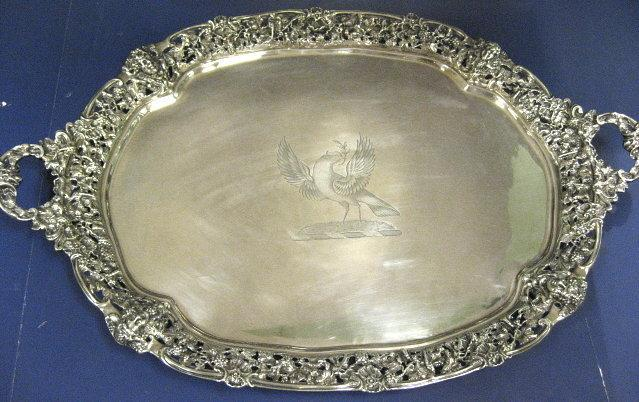 English, Sterling Silver Tray. Grape Vine & Insects Cast Border. Dove With Olive Branch Crest