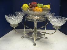 4 Arm Sheffield Epergne With Crystal Bowls