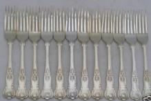 Kings Pattern Round Bowl Soup Spoons - English Sterling Silver