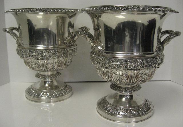 Antique English, Pair Of Old Sheffield Plate Champagne Buckets By Matthew Boulton. Circa 1820