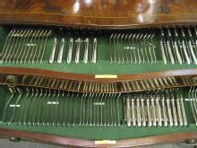 Bead / Pearl Pattern, English, Sterling Silver Comprehensive Flatware Service,  Fitted In Original Table