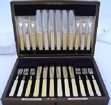 12 Pair Fish Knives & Forks. Bone Handles With All Sterling Blades