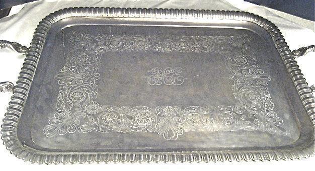 English, Sterling Silver, Large Rectangular Tray
