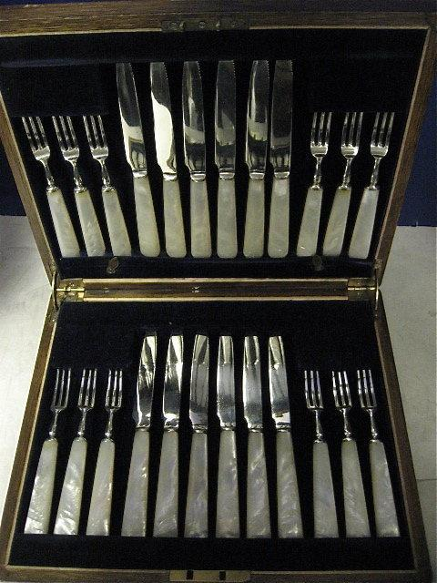 12pr Of Mother Of Pearl Handled Dessert Or Fruit Set With Sterling Silver Blades