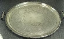 Silver Plated, Large Oval 2 Handled Antique Tray