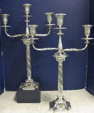 Elegant, Antique Victorian, English Pair Of 3 Light Candelabra