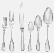 72 Piece Set, Fiddle Thread Pattern. Sterling Silver Flatware Set By George Adams