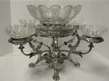 George III, Sterling Silver Erpergne With Crystal Inserts