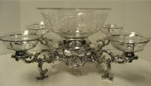 Sterling & Etched Glass Centerpiece