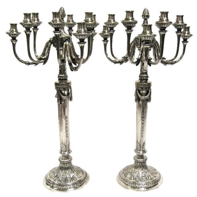 Pair Of 9 Light Antique Silver Candelabra