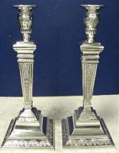 Tall Pair Of Sterling Silver Candlesticks. 15