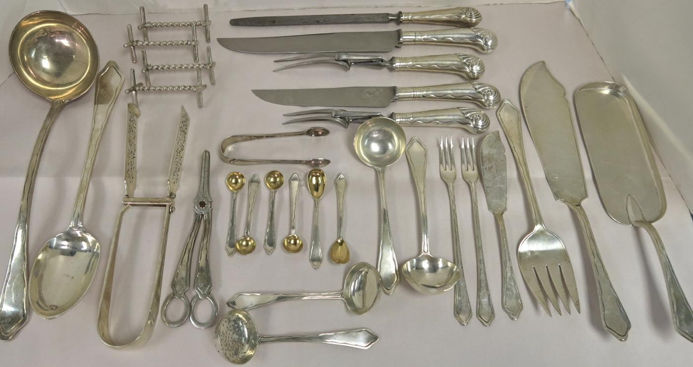 Large & Very Comprehensive Sterling Silver Flatware  Set In An Early 18th Century Style.
