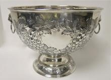 Large, Hand Chased, Sterling Silver Punch Bowl / Centerpiece